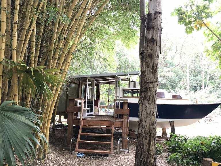 Eco Retreat NSW - side deck of tiny house