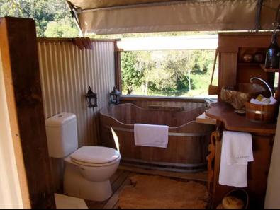 Silk Pavillions Glamping NSW Wooden Bath - Glamping Northern NSW