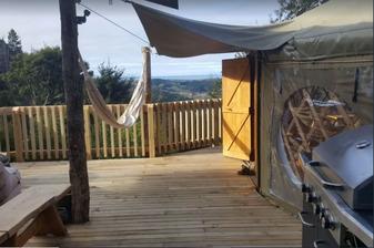 Treehouse Yurt Retreat Deck and View - Motueka Eco Accommodation